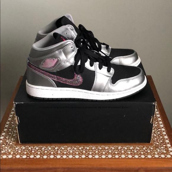 Nike Girls Jordan 1 Phat Silver Black Pink 7Y